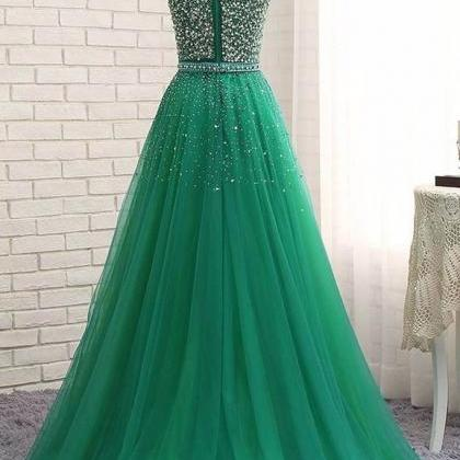 Long Tulle Prom Dresses Crystals Fl..