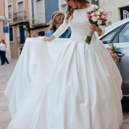 Long Sleeves Satin Ball Gown Weddi..