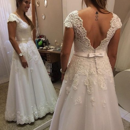 Cap Sleeves Lace Wedding Dress,Cust..