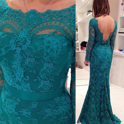 Charming Prom Dress,Long Sleeve Prom Dresses,Mermaid Lace Evening Dress ,Evening Gown,Prom Dresses