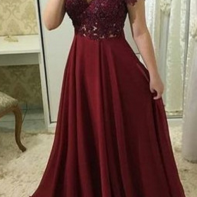 Maroon Lace Applique Long Party Dress, Chiffon Formal Dress, Off Shoulder Party Dress