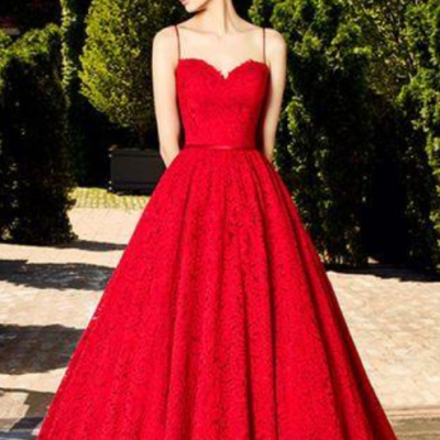 Red Lace Prom Dress,Sweetheart Ball Gown,Custom Made Evening Dress,