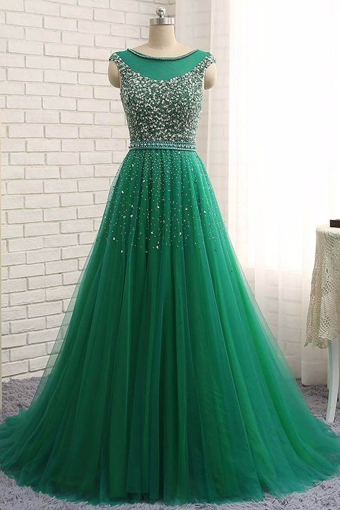 Long Tulle Prom Dresses Crystals Floor Length Women Party Dresses