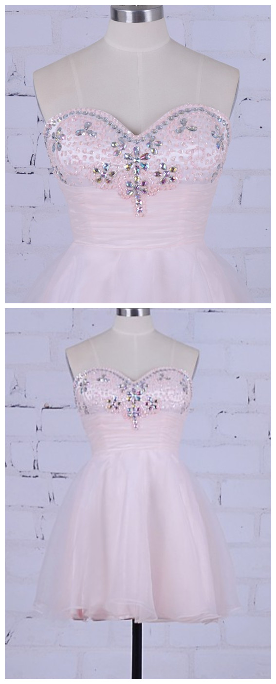 Pink Homecoming Dress Short Beaded Prom Dress Real Pictrue Sweetheart Stones Party Dress Mini Cocktail Graduation Dress