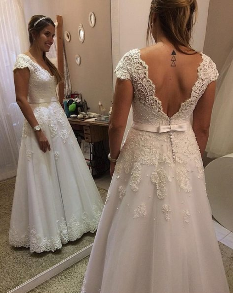 Cap Sleeves Lace Wedding Dress,Custom V-back Lace Bridal Dress