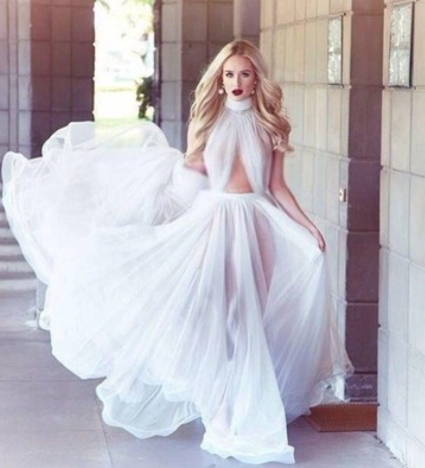 High neck prom dress, sexy tulle prom dress, backless prom dress, dresses for prom, long prom dresses, evening dresses