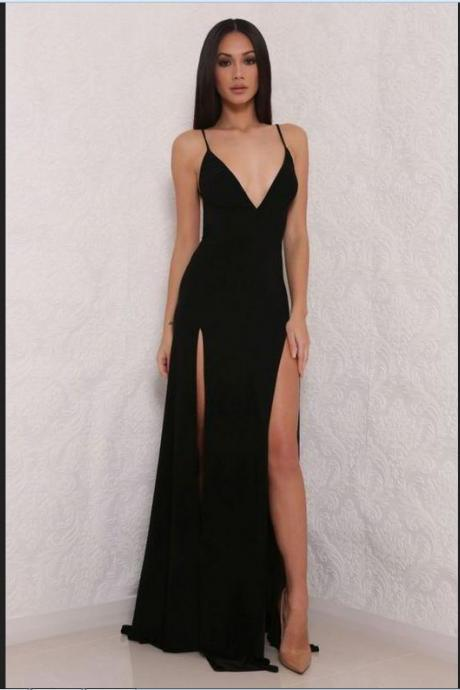 Sexy Black Prom Dresses,Prom Gowns,Evening Dresses,Prom Dresses For Teens,Simple V-neck Prom Dresses,Spakrly Beauty Party Dresses