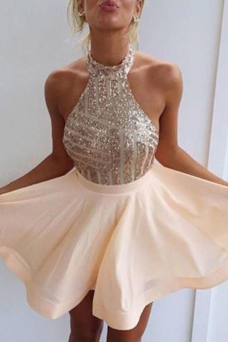 chiffon Prom Dresses,Fancy Halter Homecoming Dresses, Open Back Homecoming Dresses,Short Homecoming Dress,Short Prom Dress with Beading,Mini Party Dresses