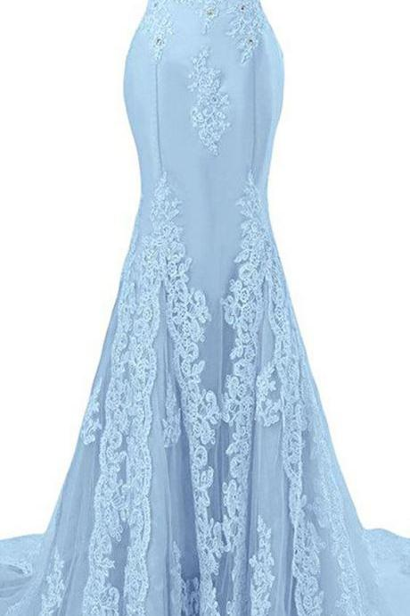 Light Blue Off-The-Shoulder Lace Appliqués Mermaid Long Prom Dress, Evening Dress