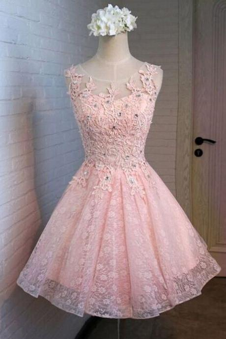 Pink Lace Homecoming Dresses, A-Line Homecoming Dresses, Modern Homecoming Dresses, Homecoming Dresses,Hote sale Homecoming Dresses