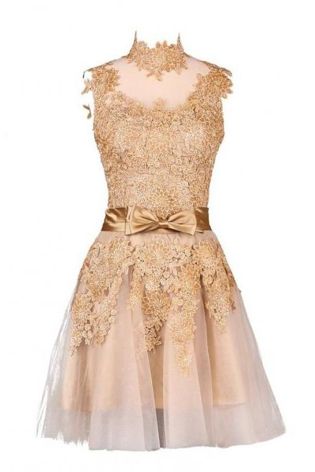 Champagne Graduation Dresses Short Vestido De Festa Branco E Preto High Collar Lace Appliqued Dresses for Homecoming
