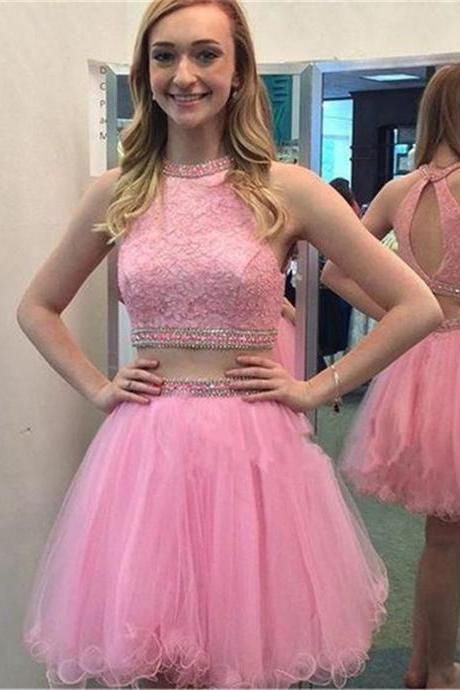 Sleeveless Short Pink Prom Dresses Vestido Formatura Curto Sexy Backless Two Piece Homecoming Dresses for Graduation