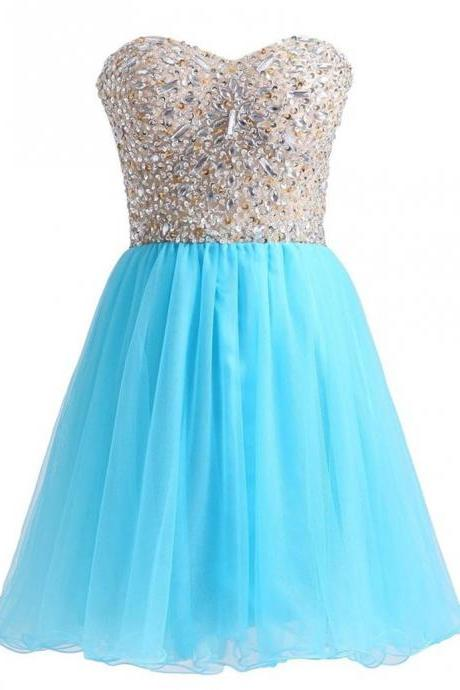 Graduation Dresses Short Vestidos De Anos cortos Blue Short Corset Homecoming Dresses with Rhinestones