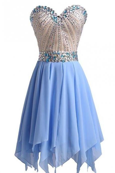 Graduation Dresses Sparkly Crystals Beaded Sweetheart Short Homecoming Dress for Teens