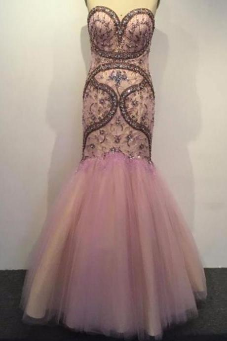 New Style Real Photo Sweetheart Prom Dress Sexy Slim Beaded Crystal Pink Prom Gown