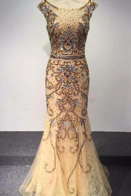 New Fashion Dubai Arabic Luxury Mermaid Prom Dress Beaded Crystal O-Neck Cap Sleeve Prom Dress Sweep Train Evening Gown