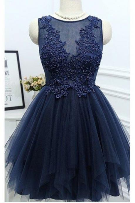 Scoop Neck Short Tulle Homecoming Dresses Lace Appliques Women Dresses