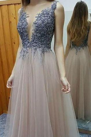 Scoop Neck Long Tulle Prom Dresses Beaded Women Party Dresses
