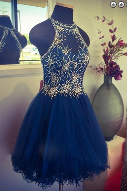 Tulle Prom Dress,Crystal Luxury Navy Blue Prom Dress,Beaded Party Gown,Short Prom Gown