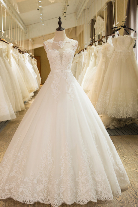 New Arrival A-Line Sleeveless Tulle Lace Appliques Wedding Dress