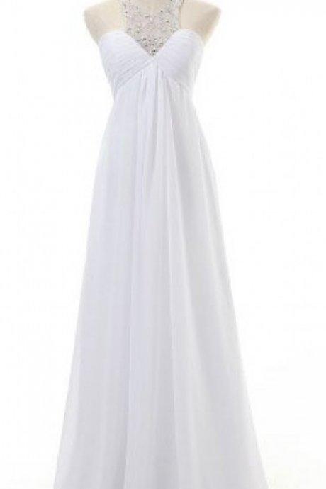 Halter Neck White Chiffon Prom Dresses Crystals Women Party Dresses