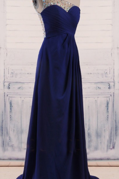 Dark Blue Chiffon Prom Dresses One Shoulder Crystals Women Party Dresses