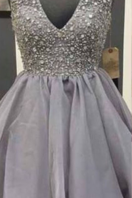 V-neck Organza Homecoming Dresses, Cheap Short Homecoming Dresses with Sparkly Beads, Gray Homecoming Dress with All over beaded Bodice