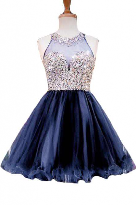 New Homecoming Dresses Luxury Beaded Navy Blue Short Party Dresses Sweetheart Sleeveless Illusion Ball Gown Party Dresses