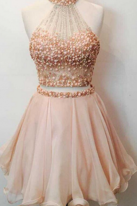 A Line Round Collar Off The Shoulder Sleeveless Mini Pearls Beaded Midriff Custom Made Homecoming Dress