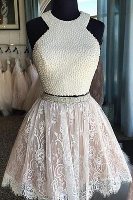 Luxury Two-Piece Homecoming Dresses Pearls Lace Short Graduation Dress