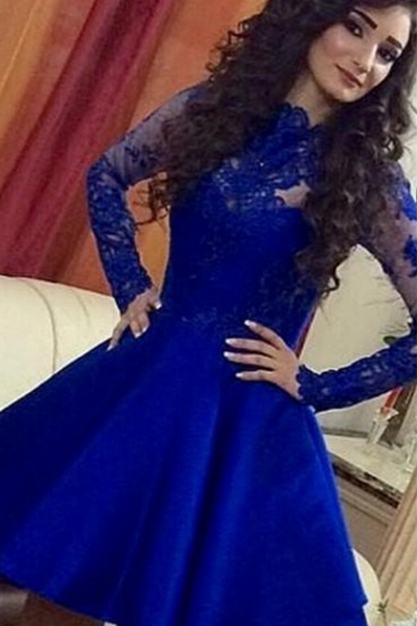 Lace Long-Sleeve Short Royal-Blue A-Line Cute Homecoming Dresses