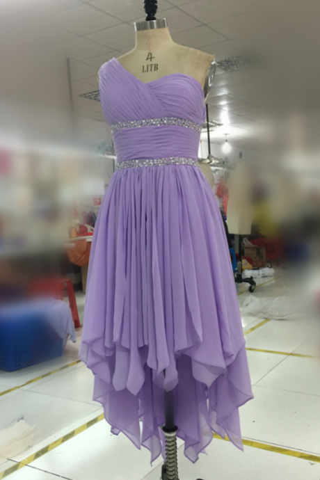 Prom Gown,Lilac Prom Dresses,One Shoulder Evening Gowns,Simple Formal Dresses,One Shoulder Prom Dresses 2016