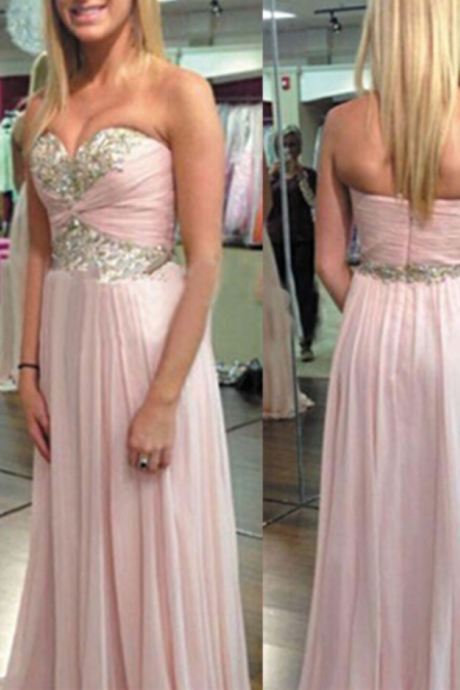 Chiffon Prom Dresses,Pearl Pink Evening Dress,Sweetheart Prom Dress,Sequined Prom Dress,Sequins Prom Gown,Sexy Prom Dress,Long Prom Gown,Modest Evening Gowns for Teens