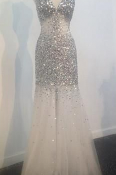 Backless Prom Dresses,Open Back Prom Dress,Ivory Prom Gown,Sparkly Prom Gowns,Elegant Evening Dress,Sparkle Evening Gowns,Mermaid Evening Gowns,Sexy Prom Dress,2016 Party Dress For Teens