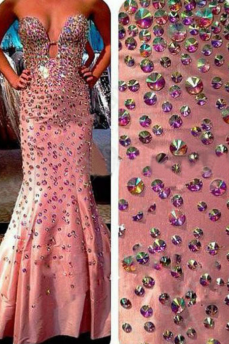 Sexy Prom Dresses,Pink Prom Dress,Crystals Prom Gown,Sparkly Prom Gowns,Elegant Evening Dress,Sparkle Evening Gowns,Mermaid Evening Gowns,2016 Prom Dress For Teens