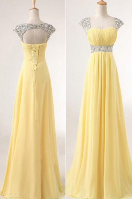 Chiffon Prom Dresses,Straps Prom Dress,Modest Evening Gown,Sparkly Prom Gowns,Beading Evening Dress,Sparkle Evening Gowns,2016 Pink Prom Gowns,Backless Evening Gowns,Yellow Party Dresses