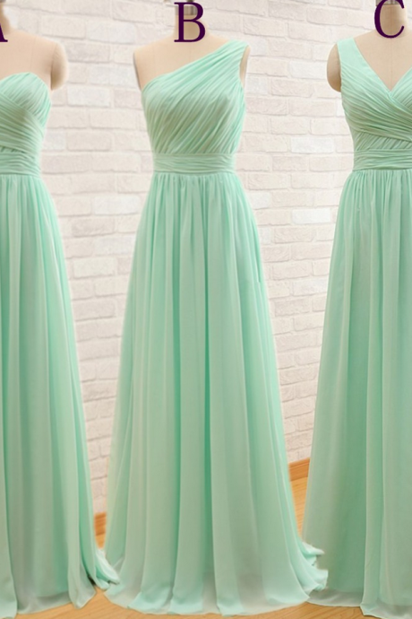 One Shoulder Mint Green Bridesmaid Gown,Pretty Prom Dresses,Chiffon Prom Gown,Simple Bridesmaid Dress,Sweetheart Bridesmaid Dress,Cheap Evening Dresses,Fall Wedding Gowns,2016 V neck Bridesmaid Gowns