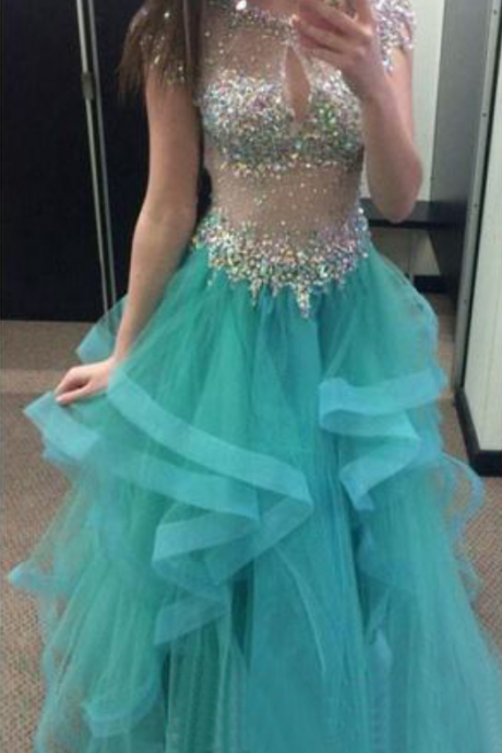 Ball Gown Prom Dresses,Blue Prom Dress With Cap Sleeves,Crystals Prom Gown,Sparkly Prom Gowns,Elegant Evening Dress,Sparkle Evening Gowns,Tulle Evening Gowns,Sexy Prom Dress,Blue Party Dress For Teens