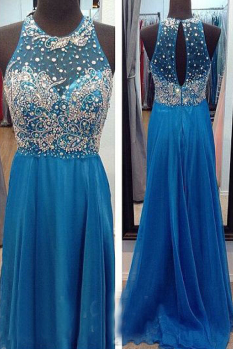 Chiffon Prom Dresses,Royal Blue Prom Dress,Modest Prom Gown,Simple Prom Gowns,Beading Evening Dress,Princess Evening Gowns,Sparkly Party Gowns,Long Prom Gowns,Silver Beaded Evening Dress