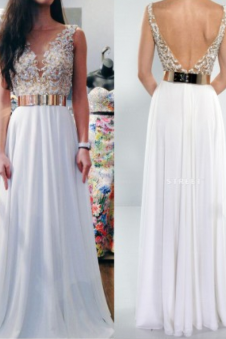 Beading Prom Dresses,Charming Evening Dress,White Prom Gowns,Lace Prom Dresses,2016 New Prom Gowns,Chiffon Evening Gown,Backless Party Dress