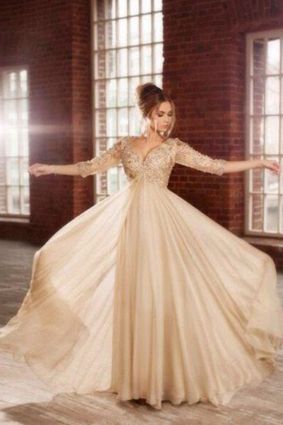 Chiffon Prom Dresses,Champagne Prom Dress,Modest Prom Gown,Pearl Wedding Gowns,Beaded Evening Dress,Evening Gowns,Sparkly Party Gowns,Crystals Prom Gown With Long Sleeves
