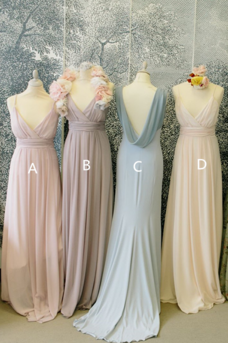 Pale Pink Bridesmaid Gown,Pretty Bridesmaid Dresses,Chiffon Prom Gown,Straps Bridesmaid Dress,Cheap Bridesmaid Dresses,CChampagne Bridesmaid Gowns
