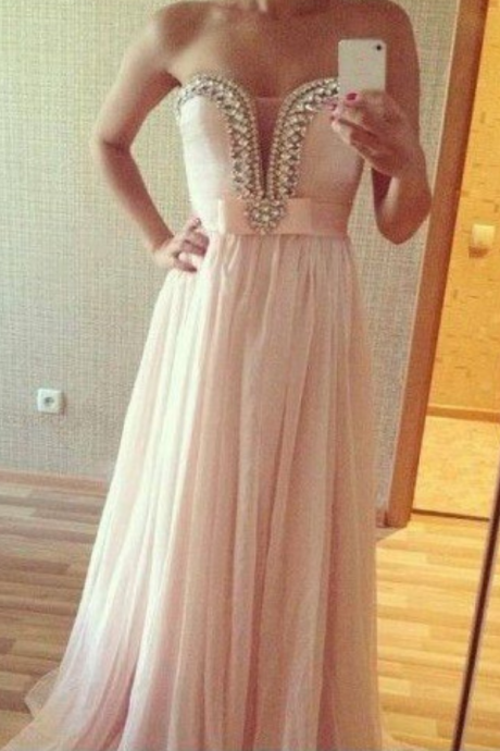 Pearl Pink Prom Dresses,Princess Prom Dress,A Line Prom Gown,Pink Prom Gown,Elegant Evening Dress,Chiffon Evening Gowns,Party Gowns With Beaded