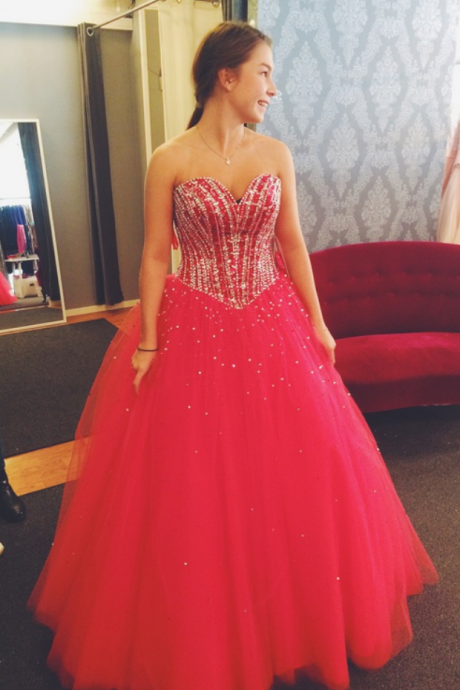 Hot Pink Prom Dresses,Tulle Prom Dresses,Princess Prom Dress,Long Prom Gown,Corset Prom Dresses,Silver Beaded Evening Dress,2016 Prom Dress