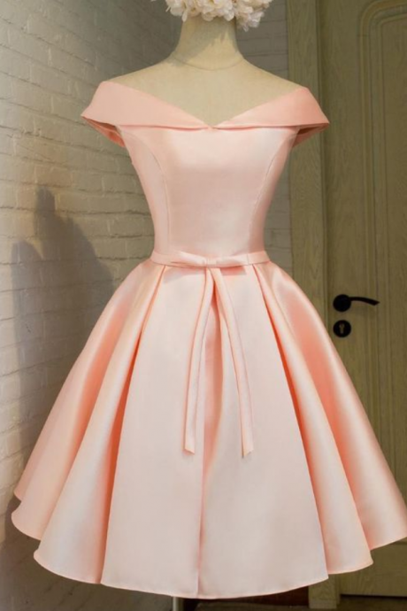 1950s Vintage Hepburn Prom Dress, 2017 Lace Up Homecoming Dresses,Blush Homecoming Dresses,Elegant Homecoming Dresses,Satin Homecoming Dresses,Cheap Pink Homecoming Dresses, Short Prom Dress