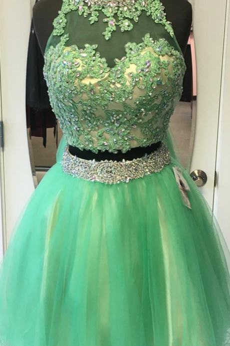 Homecoming Dress,two piece homecoming dresses,short prom dresses,semi formal dress,green cocktail dress