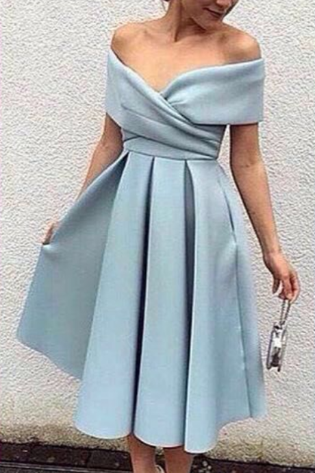 Off The Shoulder Tea Length Satin Homecoming Dress, Cocktail Dress, Formal Gown