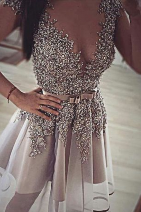 Homecoming Dress,Short Prom Gown,Grey Homecoming Gowns,Backless Party Dress,Sequined Prom Dresses,2016 Homecoming Dress For Teens
