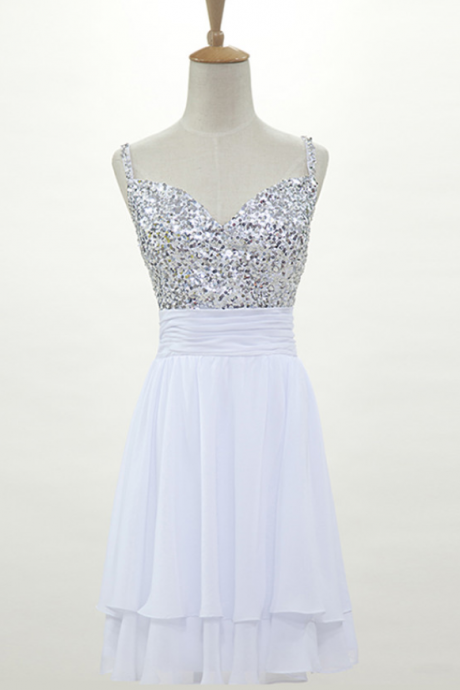 White Homecoming Dress,Sparkle Homecoming Dresses,New Style Homecoming Gowns,Fashion Prom Gowns,Classy Sweet 16 Dress,Silver Beading Homecoming Dresses,Tulle Cocktail Dress,Evening Gowns