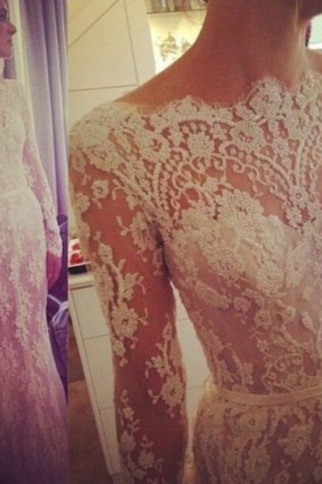 White Wedding Dresses,Long Sleeves Wedding Gown,Lace Wedding Gowns,Mermaid Bridal Dress,2016 Princess Wedding Dress,Beautiful Brides Dress,Wedding Gowns For Spring Summer